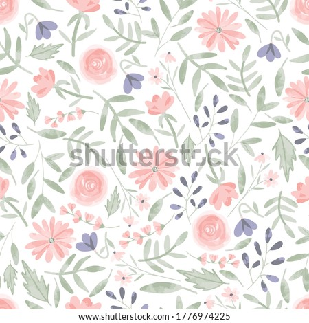 Seamless pattern of elegant and dainty florals. Photo stock ©