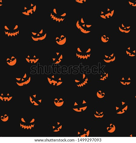 seamless pattern of emotions of pumpkins on a black background, wallpaper