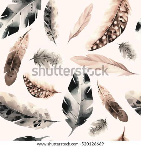 seamless pattern of feathers in