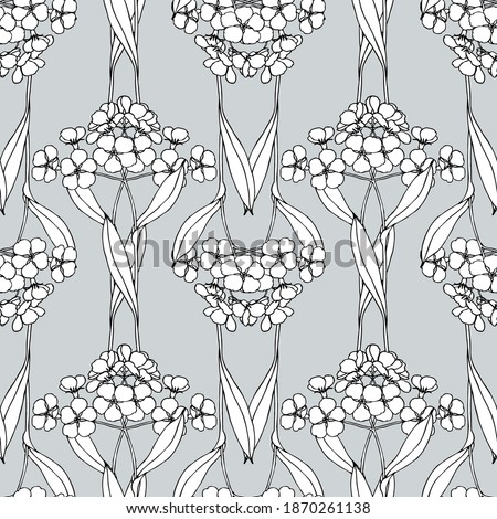 Seamless pattern of flowers in the art Nouveau style. Graphic flowers on a gray background. For decoration and design of fabrics, textiles, paper, packaging. Forget-me-nots. ストックフォト ©