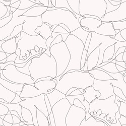 Seamless pattern of flowers one line. Vector illustration of an abstract floral drawing.