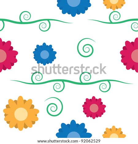 Seamless pattern of flowers with vine and leaves repeating
