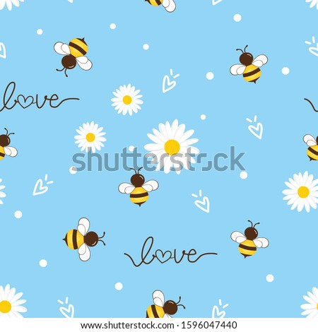 Seamless pattern of flying bees and daisy flower on blue background. cute cartoon character vector illustration.