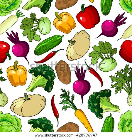 Seamless pattern of fresh picked broccoli and cabbages, cucumbers and potatoes, chili and bell peppers, beetroots and carrots, kohlrabies and daikon, squashes and celery vegetables #428996947