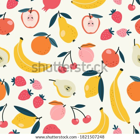 Seamless pattern of fruits background elements on a beige background. Set with hand drawn fruit doodles. Tropical pattern of  banana, apple, pear, peach, strawberry, lemon, cherry, and pomegranate.
