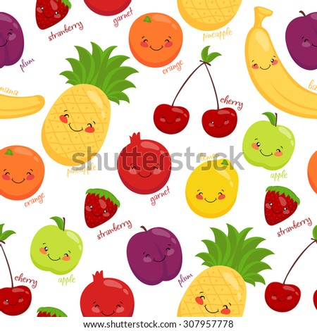 Seamless pattern of fruits, vegetarian food, juice, vitamins.