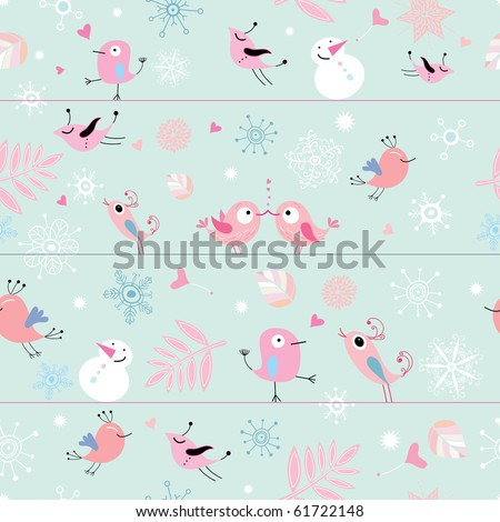 seamless pattern of funny birds