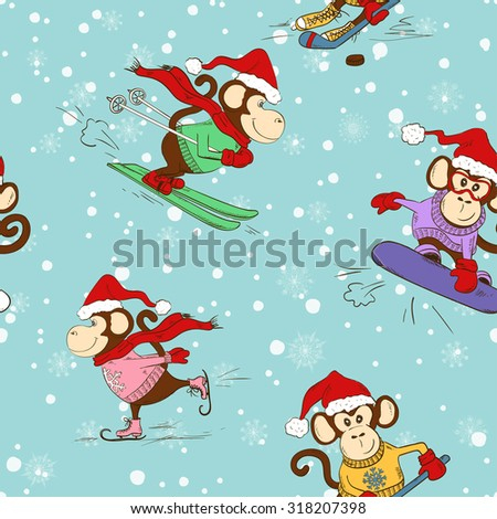 Seamless pattern of funny cartoon monkey doing winter sports. Skating, skiing, snowboarding and hockey.