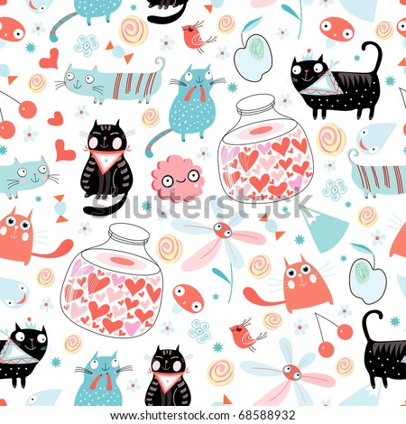 Seamless pattern of funny cats and hearts