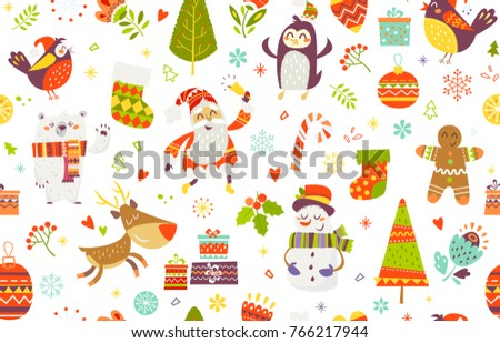 Seamless Pattern Of Funny Christmas Characters On White Background Endless For Print Fabric