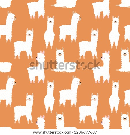 Seamless pattern of funny hand-drawn white llamas or alpacas on an orange background. Illustration for children, room, textile, clothes, cards, wrapping paper.