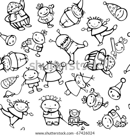 Seamless pattern of  funny kids.