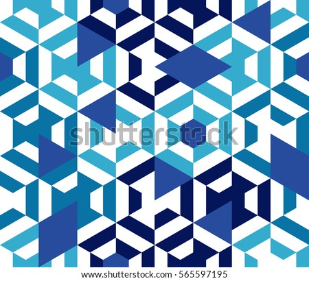 Seamless pattern of geometric shapes. Geometric abstract background with hexagons, rhombus, triangels