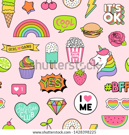 Seamless pattern of girls fashion patches on pink background. #1428398225