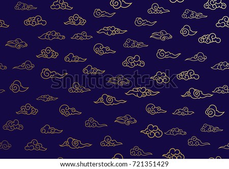 Seamless pattern of golden clouds in Chinese style.