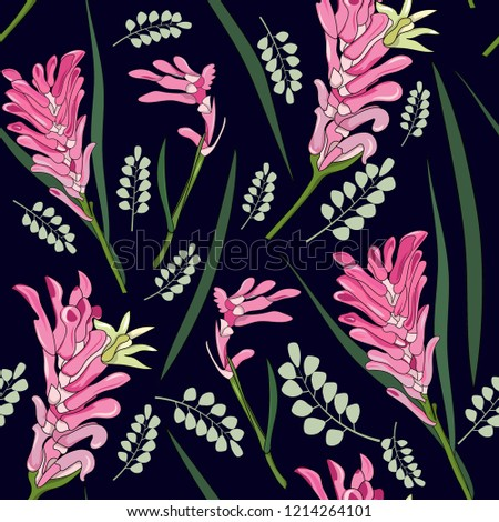 00d3373f0 seamless pattern of hand drawn Australia native pink kangaroo paw flower  illustration on navy background