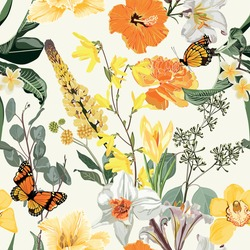 Seamless pattern of hand drawn bright yellow  flowers with green leaves in Japanese graphic style.