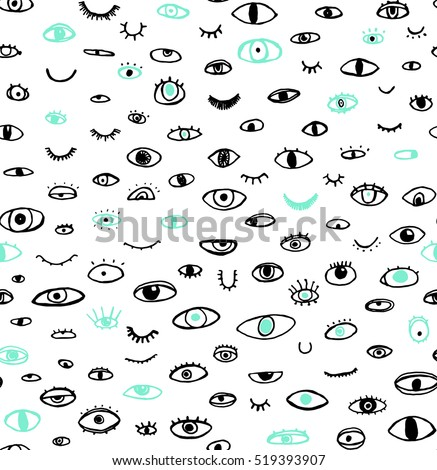 seamless pattern of hand drawn