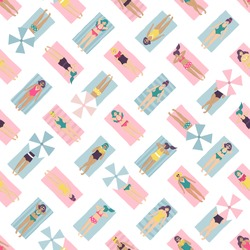 Seamless pattern of hand drawn people sunbathing, relaxing and reading books on the beach. Vector set of women in bikini lying on the beach towel, top view. Endless summer background with pretty girls