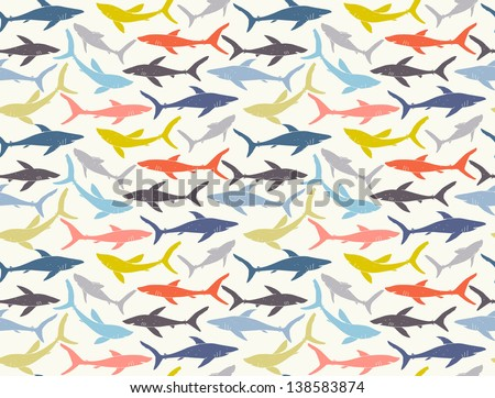Seamless pattern of hand-drawn sharks silhouettes. EPS 10 vector