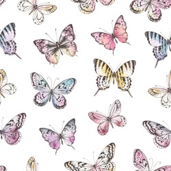 Seamless pattern of Hand Drawn silhouette butterflies with watercolor texture. Vector illustration in vintage style.