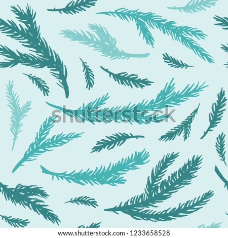 Seamless pattern of hand drawn spruce branches. Ink vector illustration. Christmas background.