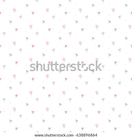 Seamless Pattern of Hand Drawn Tiny Flowers on White Background #638896864