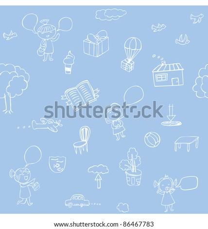 Seamless pattern of hand sketches illustration about nature and traveling.