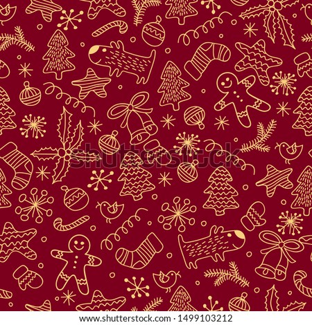 Seamless  pattern  of Happy New Year and Christmas Day. Seamless pattern of doodle, for wrapping paper, cloth, background. vector