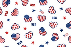 Seamless pattern of Heart Shape USA America Flag and Stars, Pattern with USA flag symbols. Vector illustration