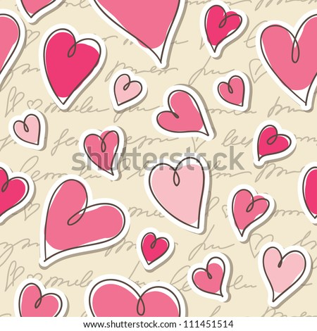 seamless pattern of hearts and hand writing elements