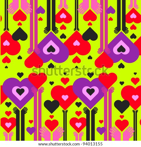 seamless pattern of hearts and hands