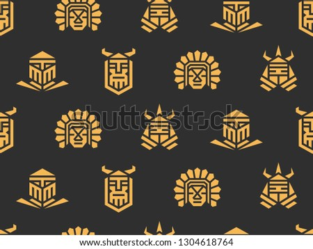 Seamless pattern of historical warriors. Vector illustration of warriors.