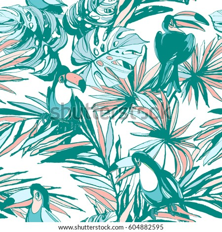 Seamless pattern of ink Hand drawn Tropical monstera palm leaves, flowers, birds. Greeting card, invitation for summer beach party, flyer, textile print. Vector illustration. Grunge design style