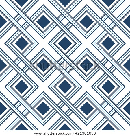 Seamless pattern of interlaced lines, abstract geometric vector ornament