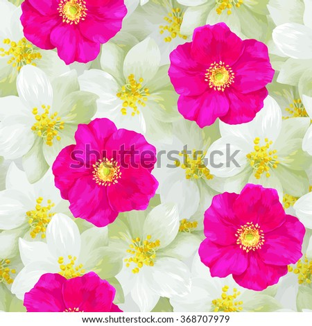 seamless pattern of jasmine
