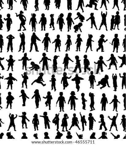 Seamless pattern of kids silhouettes