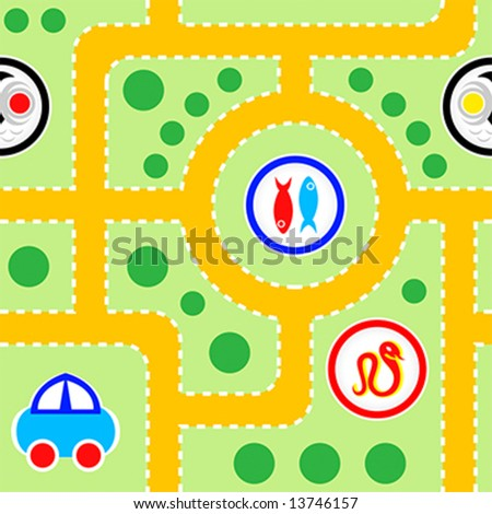 funny signs for kids. pattern of kids toy-car