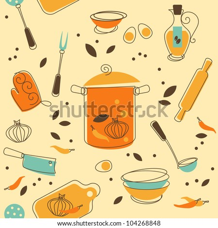 Seamless Pattern of Kitchen utensil in Retro-Styled