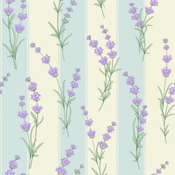 Seamless pattern of lavender flowers on a tile background. Watercolor pattern with Lavender for fabric swatch. Seamless pattern for fabric. Vector illustration.