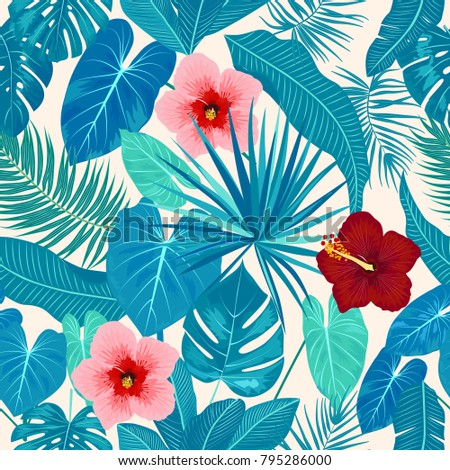 Stock Photo Seamless pattern of leaves monstera, flowers, tropical leaves of palm tree. Vector background.