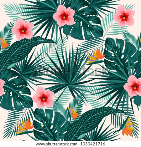 Seamless pattern of leaves monstera. Tropical leaves of palm tree and flowers. Vector background.