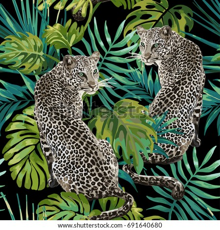 seamless pattern of leopard and