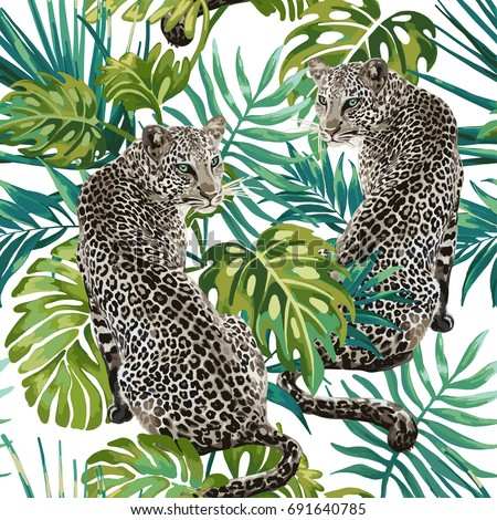 Stock Photo Seamless pattern of leopard and tropical leaves on a white background.
