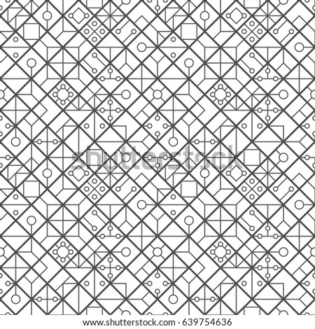 Seamless pattern of lines rhombus and circles. Geometric wallpaper. Unusual lattice. Vector illustration. Good quality. Good design.