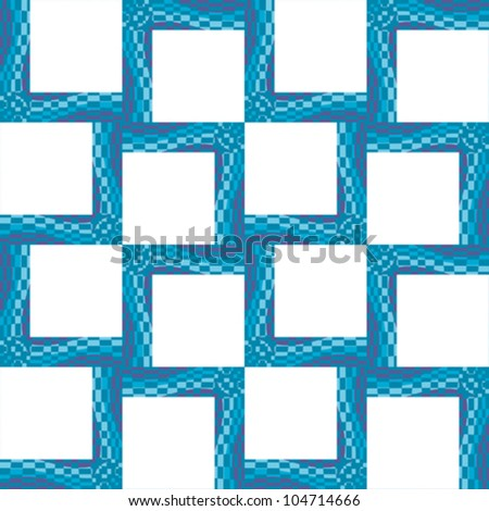 Seamless pattern of little square frames with wavy lines