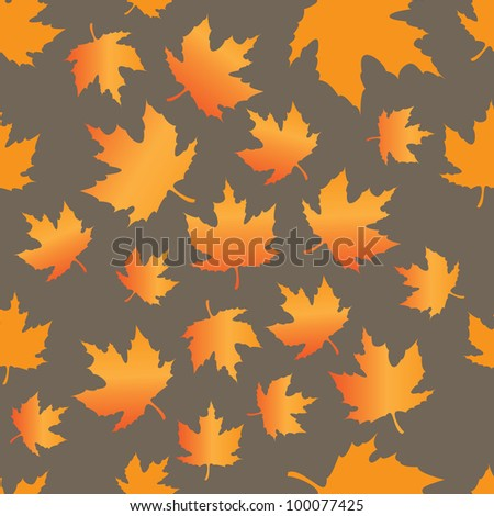 seamless pattern of maple leaves - stock vector