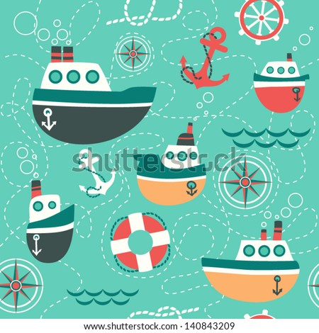 seamless pattern of marine