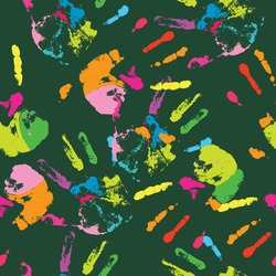 seamless pattern of multicolored human handprints on a green background. it can be widely used for creating abstract backgrounds, surface decoration, and textiles. stock vector illustration. EPS 10.