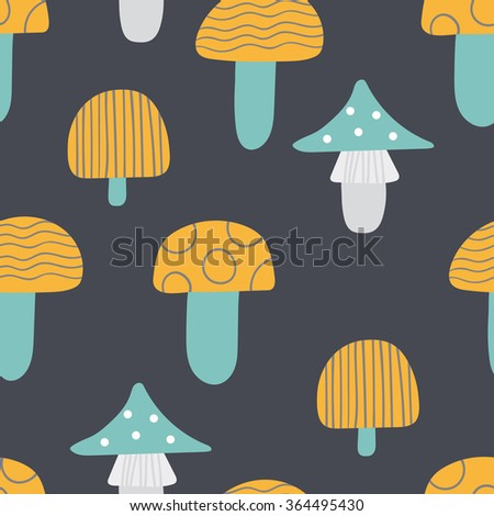 seamless pattern of mushrooms
